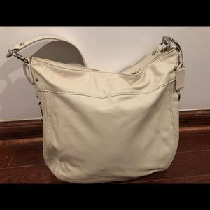 Large White Leather Authentic Coach Bag 14x12